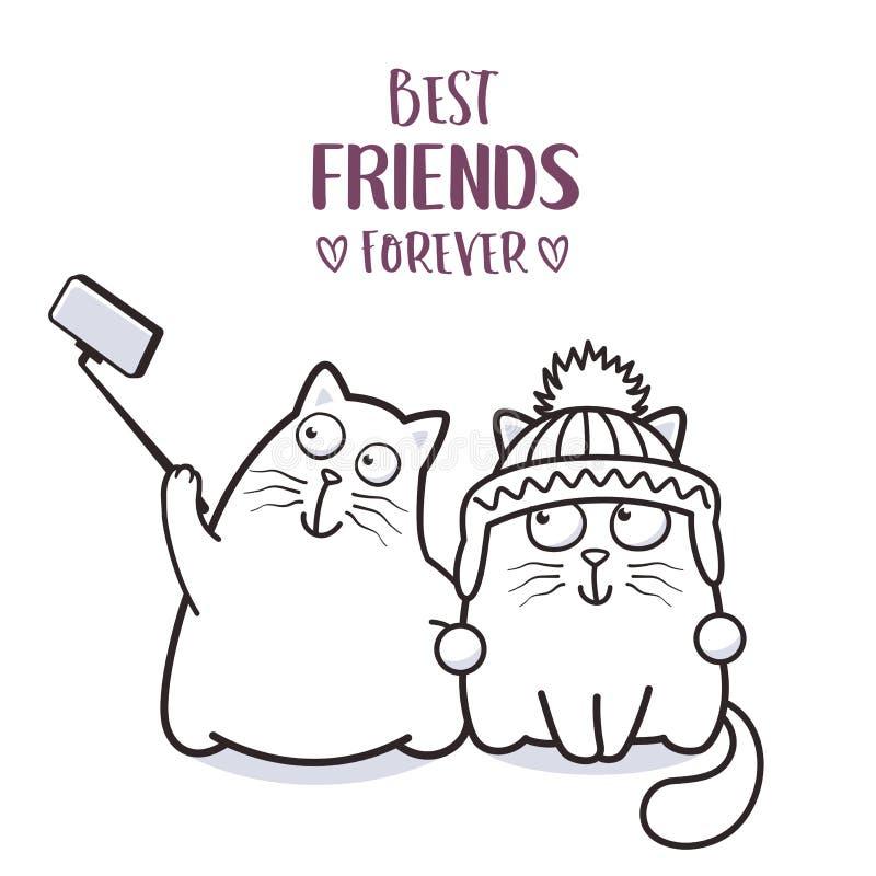 Mejores amigos divertidos de los gatos que toman el selfie para el diseño de la tarjeta de felicitación libre illustration