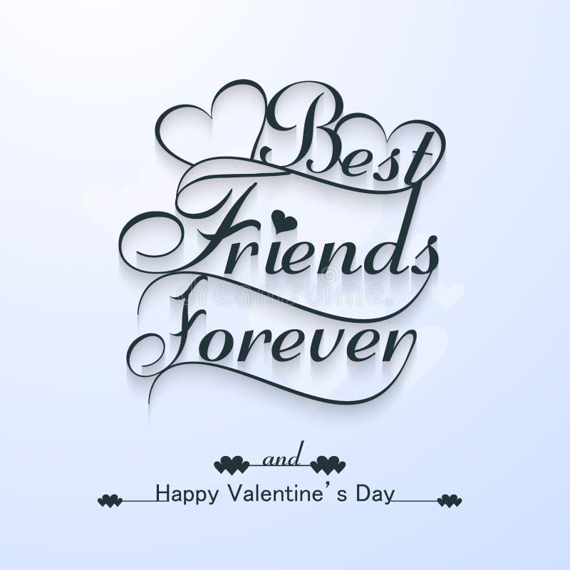 Mejores amigos hermosos para siempre para el día de tarjeta del día de San Valentín feliz elegante libre illustration