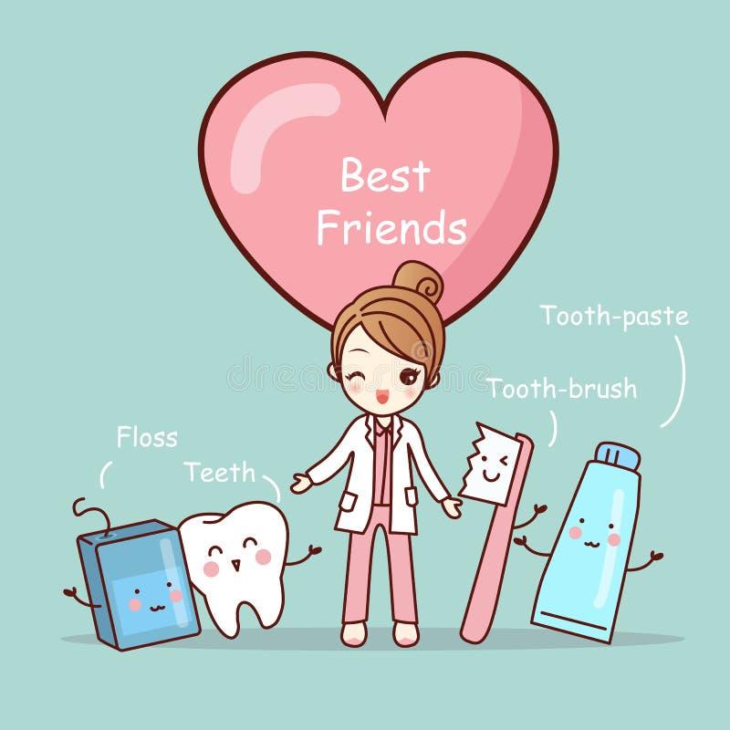 Mejores amigos lindos del diente de la historieta stock de ilustración