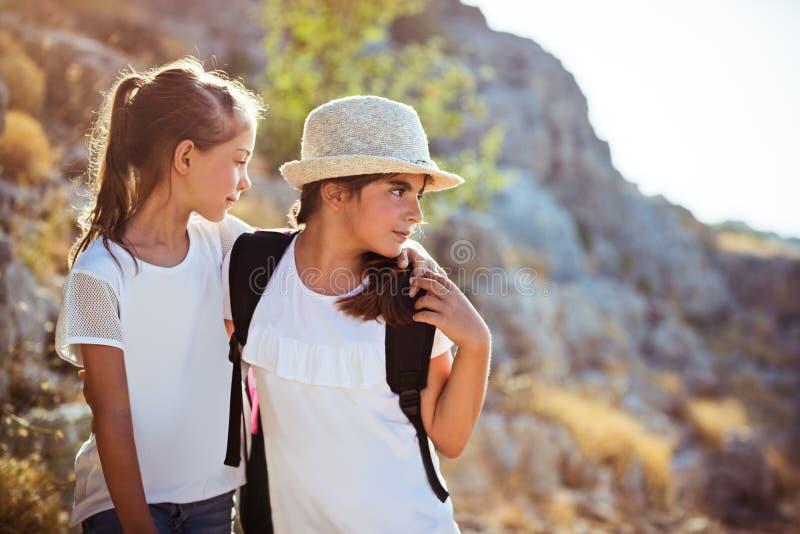 Mejores amigos que viajan a lo largo de las montañas fotos de archivo libres de regalías