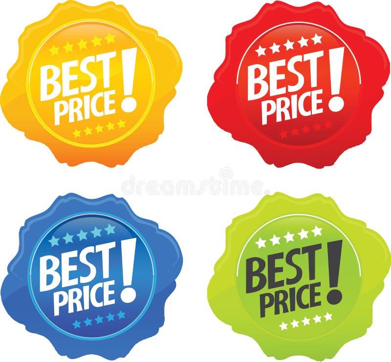 Mejores iconos brillantes del precio ilustración del vector