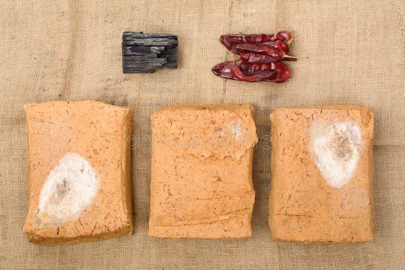 Meju e ingredientes básicos para fazer o doenjang imagem de stock royalty free