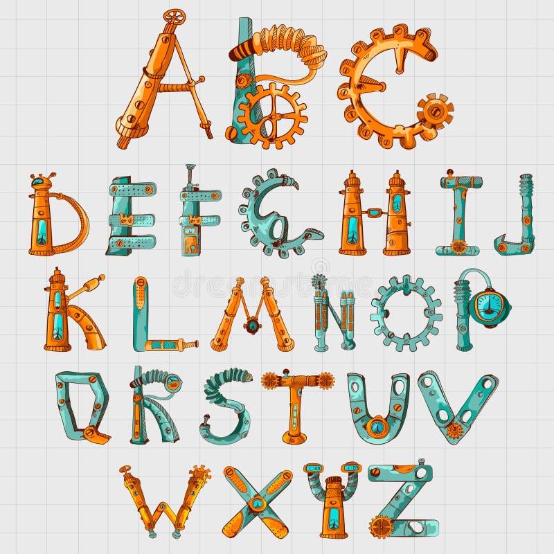 Mekaniker Alphabet Colored royaltyfri illustrationer
