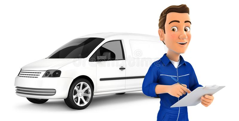 mekaniker 3d med notepaden som är främst av bilen royaltyfri illustrationer