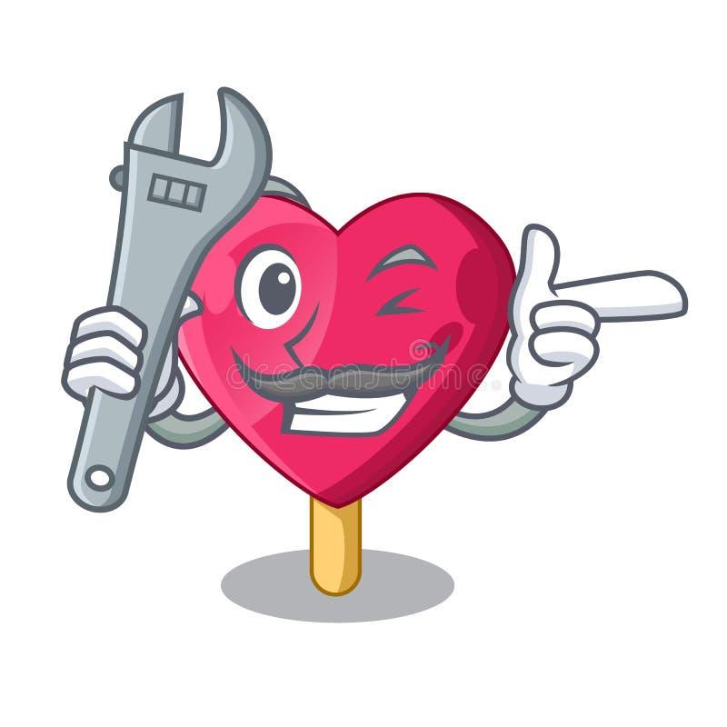 Mekaniker den formade hjärtaglassmaskot stock illustrationer