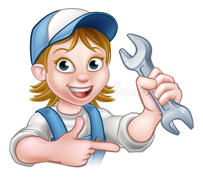 Mekaniker eller rörmokare Woman Cartoon Character vektor illustrationer