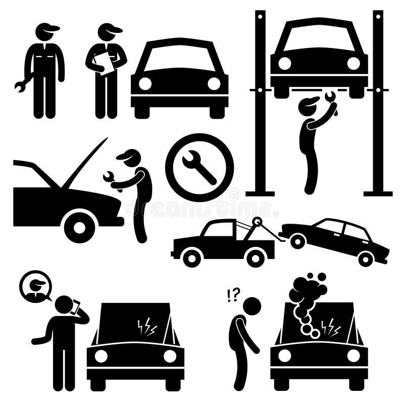 Mekaniker Icons för seminarium för bilreparationsservice royaltyfri illustrationer
