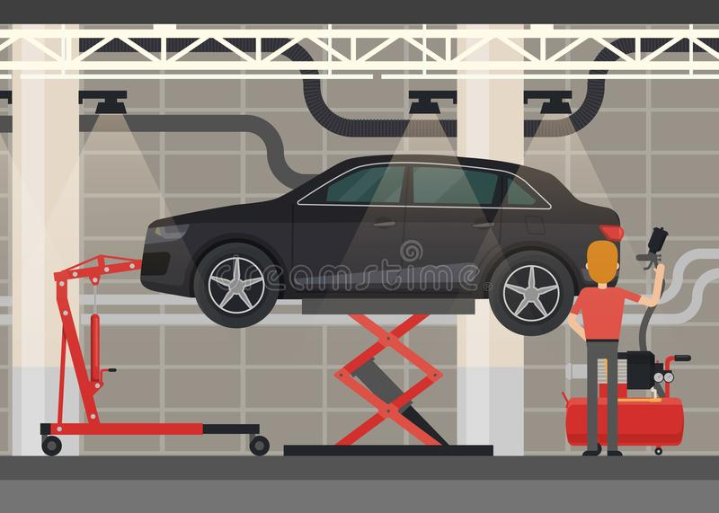 Mekaniker nära bilen på lyftande plattformen vektor illustrationer