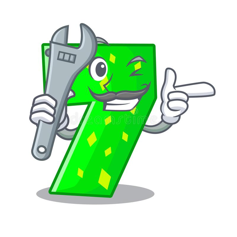 Mekaniker nummer sju som isoleras på maskot vektor illustrationer