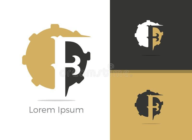 Mekaniker och reparera logodesignen för tjänste- bokstav F, f-bokstav i kugghjulvektorsymbol vektor illustrationer