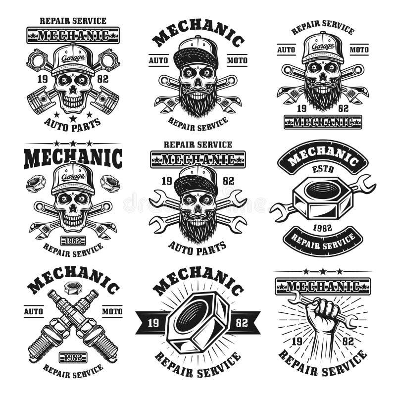 Mekaniker och uppsättning för reparationsservice av vektoremblem stock illustrationer