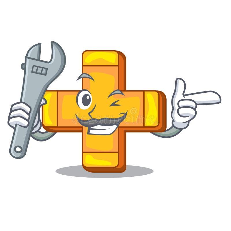 Mekaniker plus tecknet som isoleras på maskot vektor illustrationer