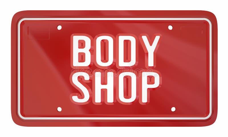 Mekaniker Service License Plate 3d Illustrat för Body Shop bilreparation vektor illustrationer