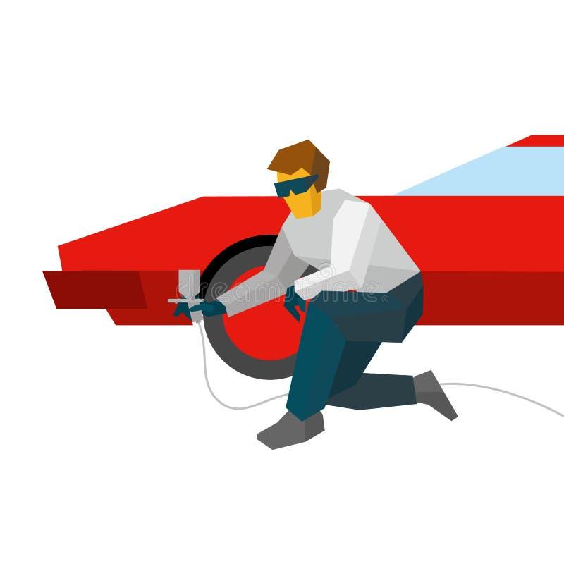Mekaniker som besprutar målarfärg på den röda bilen från pulveriser stock illustrationer