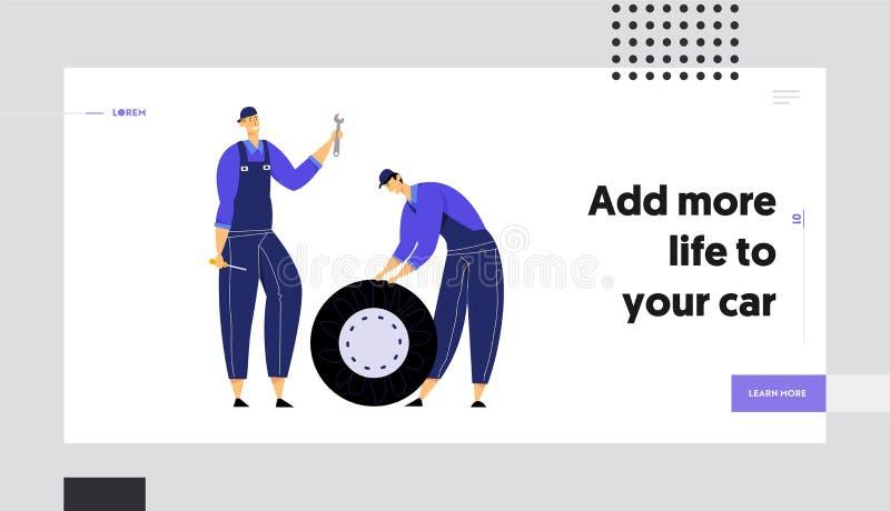 Mekaniker som rymmer bilhjulet, skiftnyckeln och skruvmejseln, reparationsservicepersonal med instrument, kontrollera för automat royaltyfri illustrationer