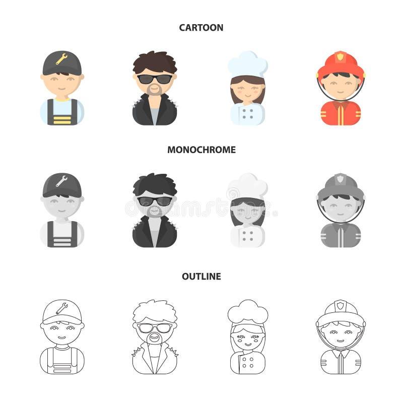 Mekaniker underhållare, kock, brandman Fastställda samlingssymboler för yrke i tecknade filmen, översikt, monokromt stilvektorsym royaltyfri illustrationer