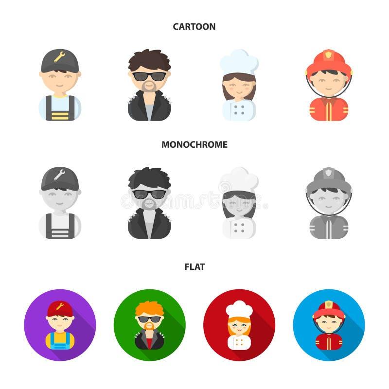 Mekaniker underhållare, kock, brandman Fastställda samlingssymboler för yrke i tecknade filmen, lägenhet, monokromt stilvektorsym stock illustrationer