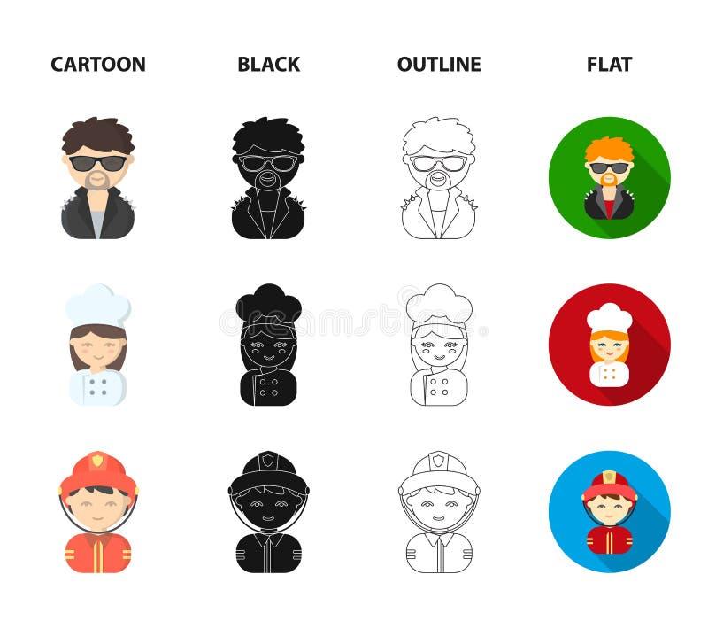 Mekaniker underhållare, kock, brandman Fastställda samlingssymboler för yrke i tecknade filmen, svart, översikt, symbol för lägen vektor illustrationer