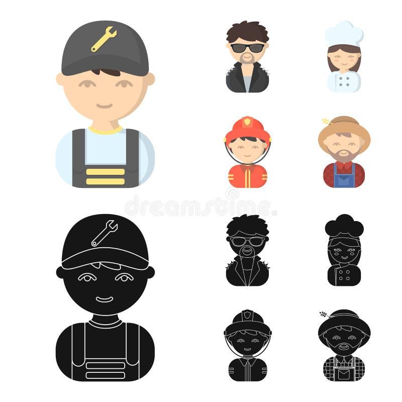 Mekaniker underhållare, kock, brandman Fastställda samlingssymboler för yrke i tecknade filmen, svart materiel för stilvektorsymb stock illustrationer