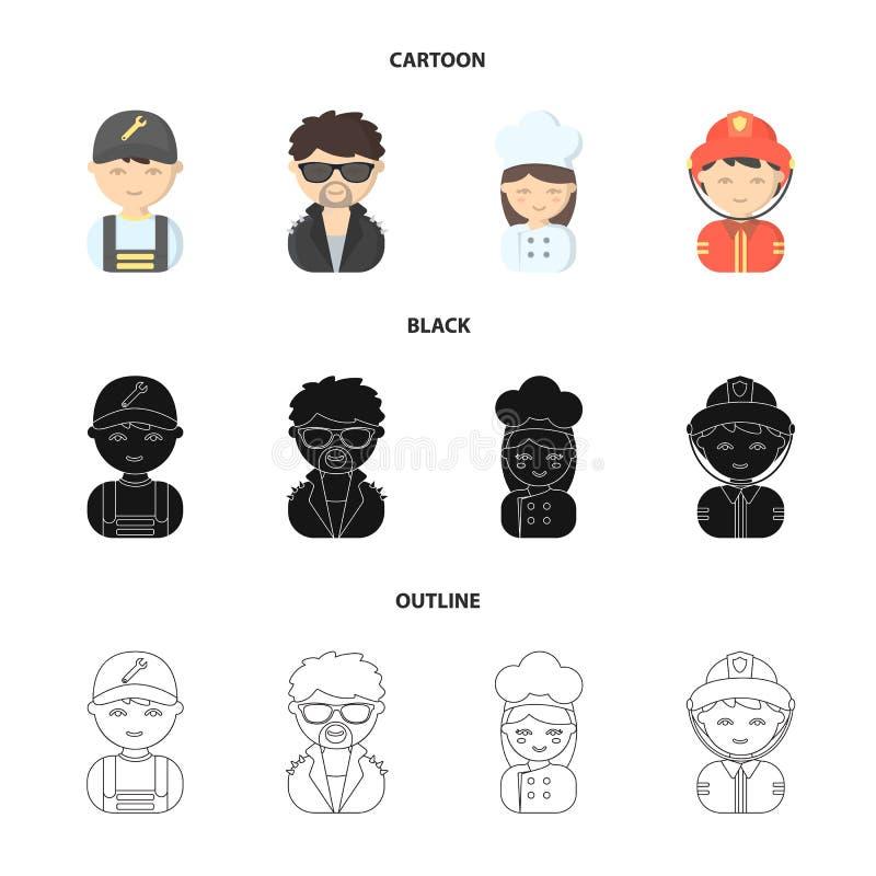 Mekaniker underhållare, kock, brandman Fastställda samlingssymboler för yrke i tecknade filmen, svart, materiel för symbol för öv vektor illustrationer