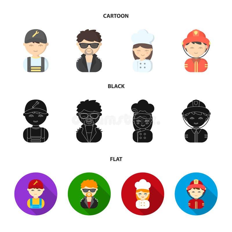 Mekaniker underhållare, kock, brandman Fastställda samlingssymboler för yrke i tecknade filmen, svart, materiel för symbol för lä stock illustrationer