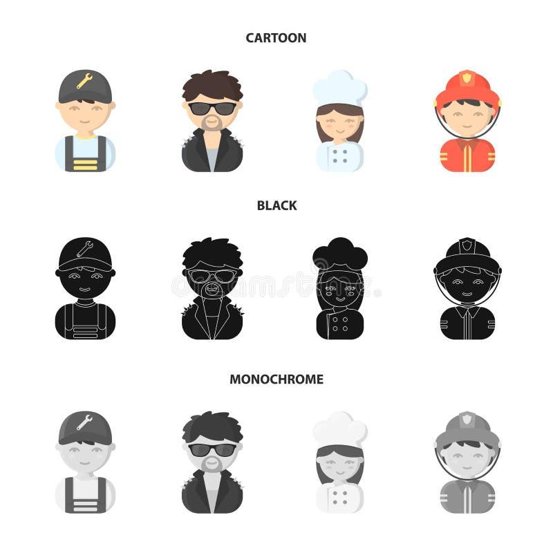Mekaniker underhållare, kock, brandman Fastställda samlingssymboler för yrke i tecknade filmen, svart, monokromt stilvektorsymbol vektor illustrationer