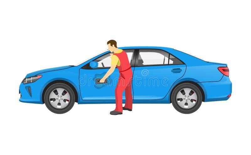 Mekanikern i likformig tvättar bilen efter Repairment royaltyfri illustrationer