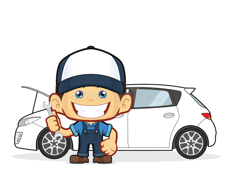Mekanikern reparerar bilen royaltyfri illustrationer