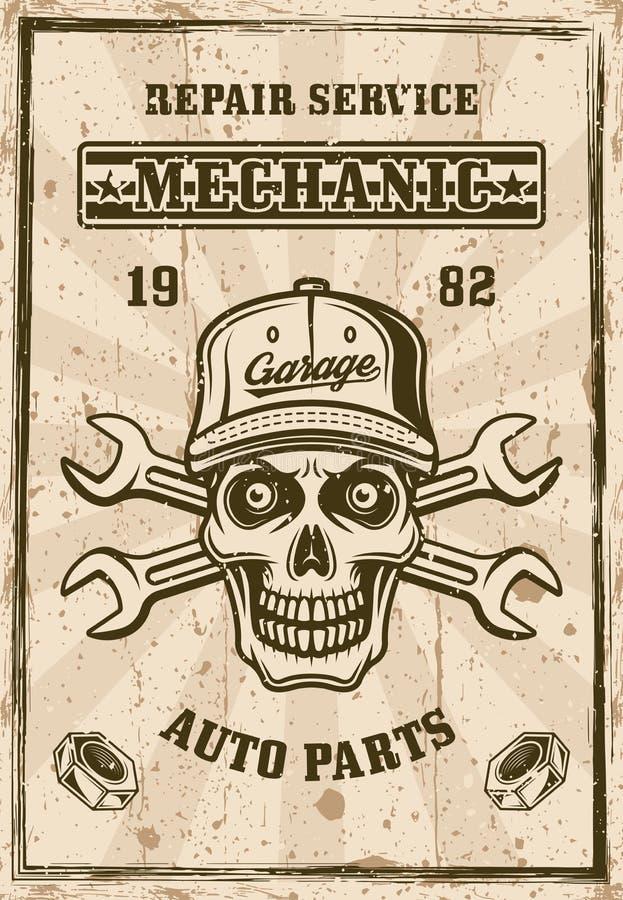 Mekanikerskalle i lock och affisch för två skiftnycklar stock illustrationer