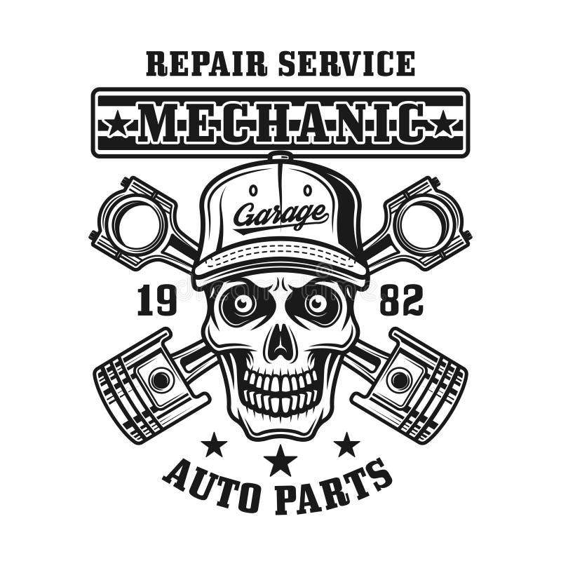 Mekanikerskalle och emblem för pistongvektortappning royaltyfri illustrationer