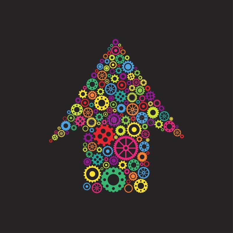 Mekanisk övre pil av ljusa färgrika kugghjul och hjul Isolerat på svart Idérik ny tekniksymbol stock illustrationer