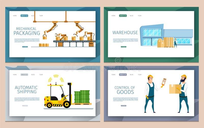 Mekanisk emballage för lager och leveransuppsättning stock illustrationer