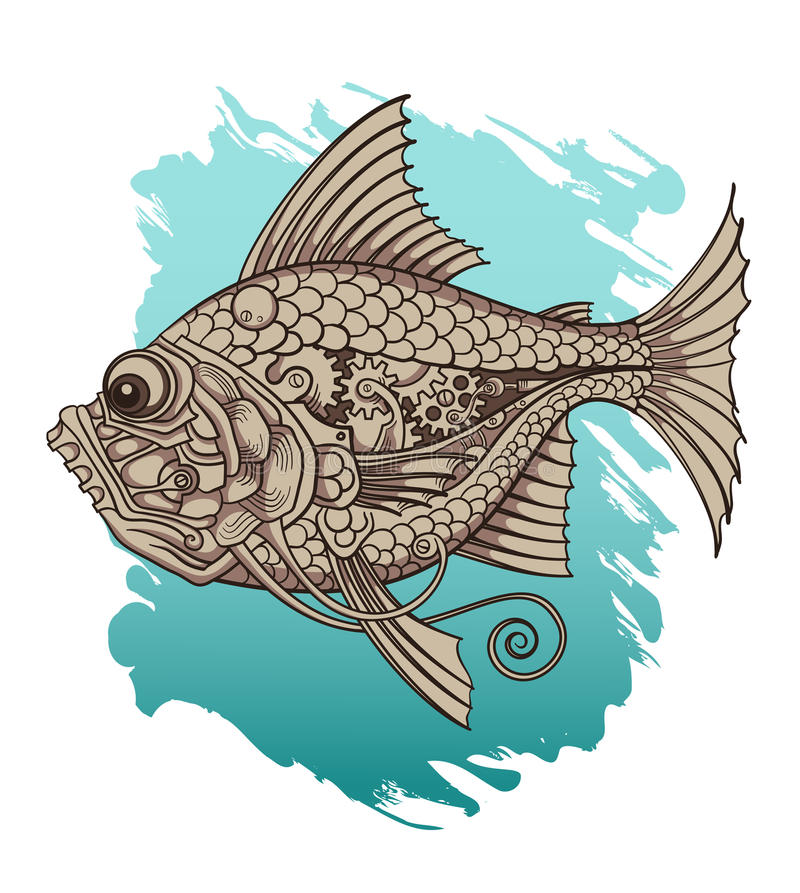 mekanisk fisk royaltyfri illustrationer