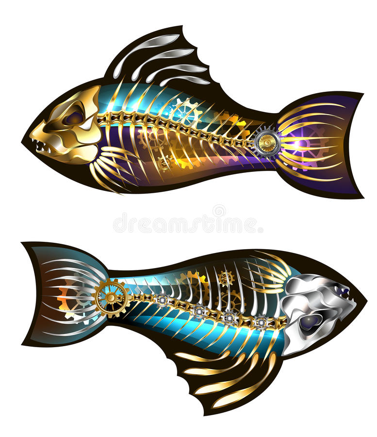 Mekanisk fisk två vektor illustrationer