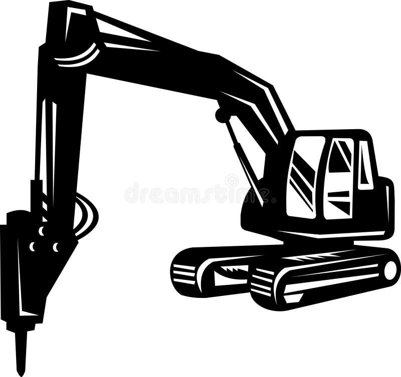 mekanisk grävaregrävskopa stock illustrationer