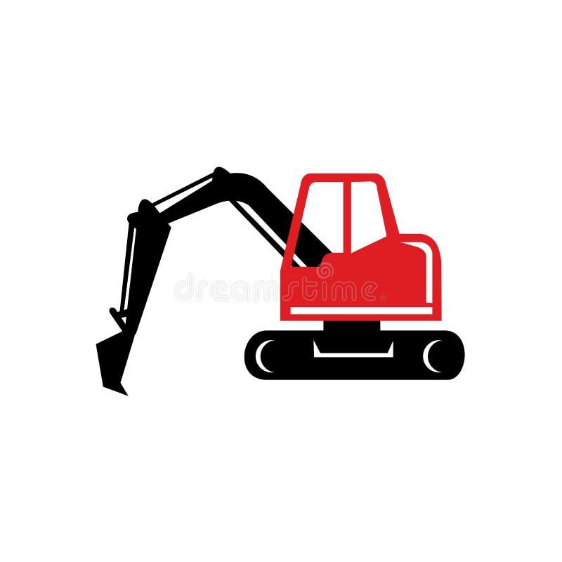 Mekanisk grävskopa Digger Retro Icon royaltyfri illustrationer