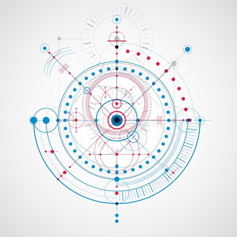 Mekanisk intrig, blå vektorteknikteckning med cirklar vektor illustrationer