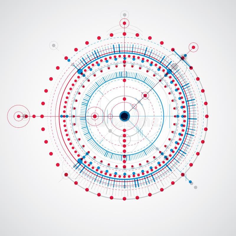 Mekanisk intrig, blå vektorteknikteckning med cirklar stock illustrationer