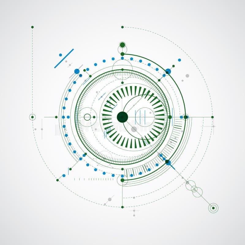 Mekanisk intrig, f?rgrik vektorteknikteckning med cirklar och geometriska delar av mekanismen Det tekniska planet kan användas vektor illustrationer