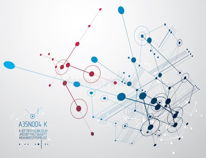 Mekanisk intrig, vektorteknikteckning med cirklar och G stock illustrationer