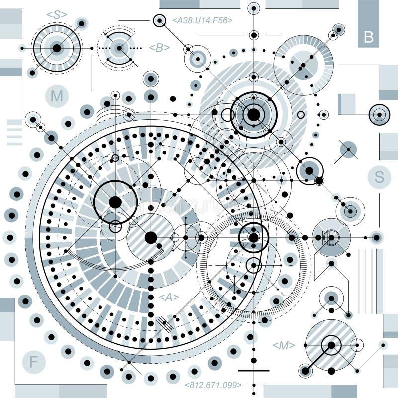 Mekanisk intrig, vektorteknikteckning med geometrisk medeltal vektor illustrationer