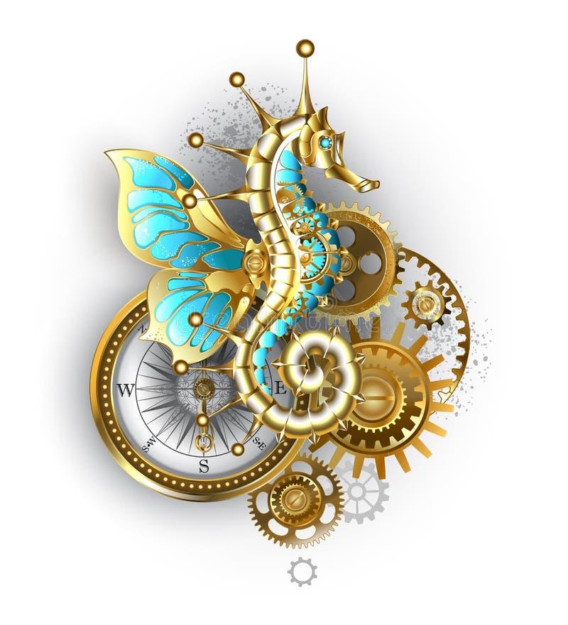 Mekanisk seahorse på vit bakgrund Steampunk stock illustrationer