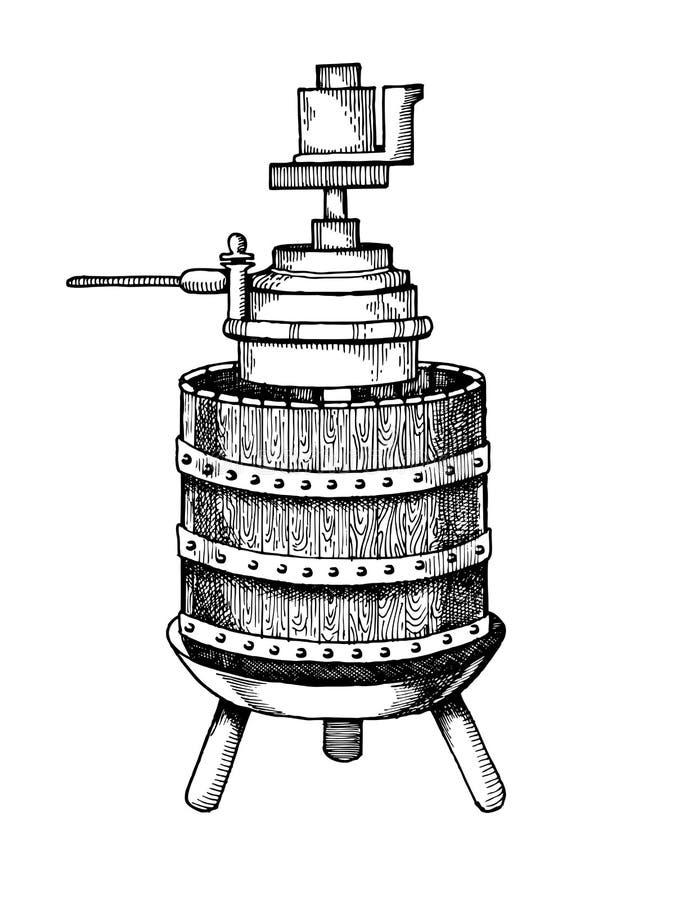 Mekanisk vektor för gravyr för vinpress stock illustrationer