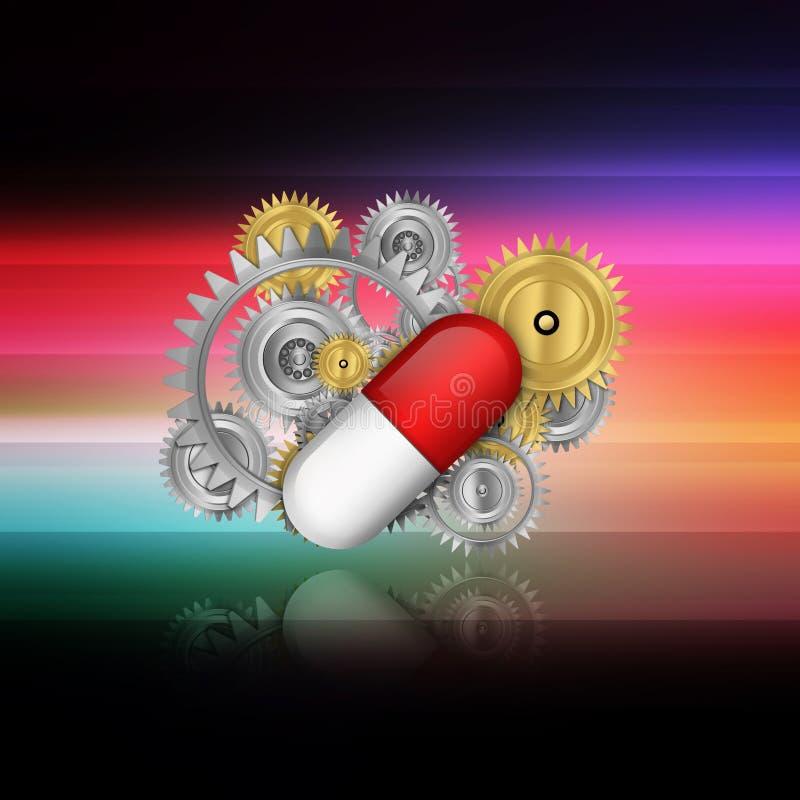 Mekaniska branscher i farmaceutisk tillverkning på abstr stock illustrationer