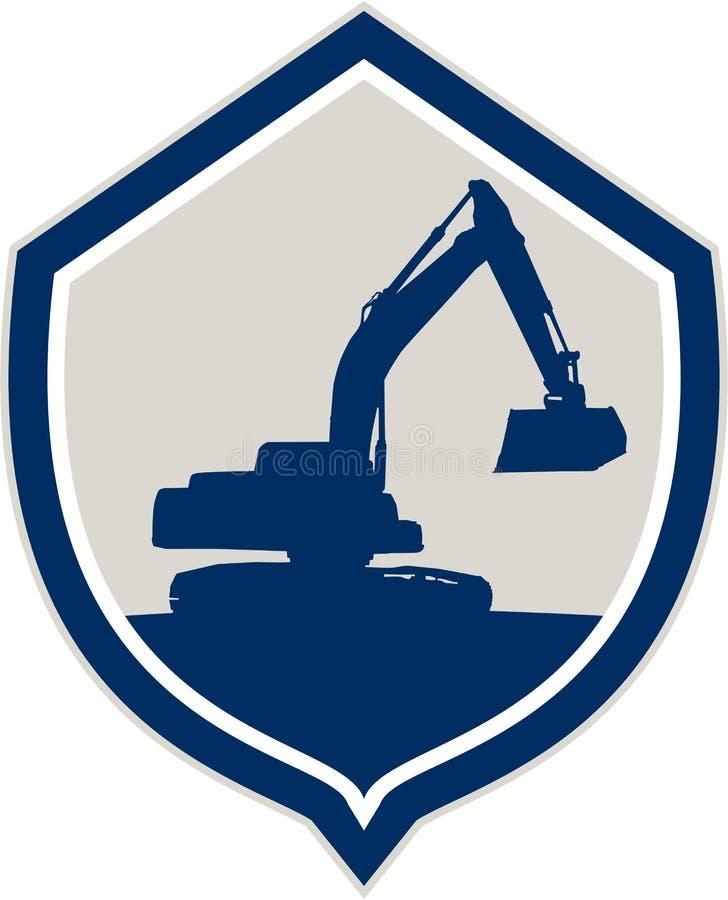 Mekaniska Digger Excavator Shield Retro vektor illustrationer