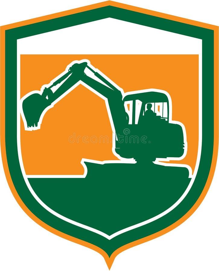 Mekaniska Digger Excavator Shield Retro stock illustrationer