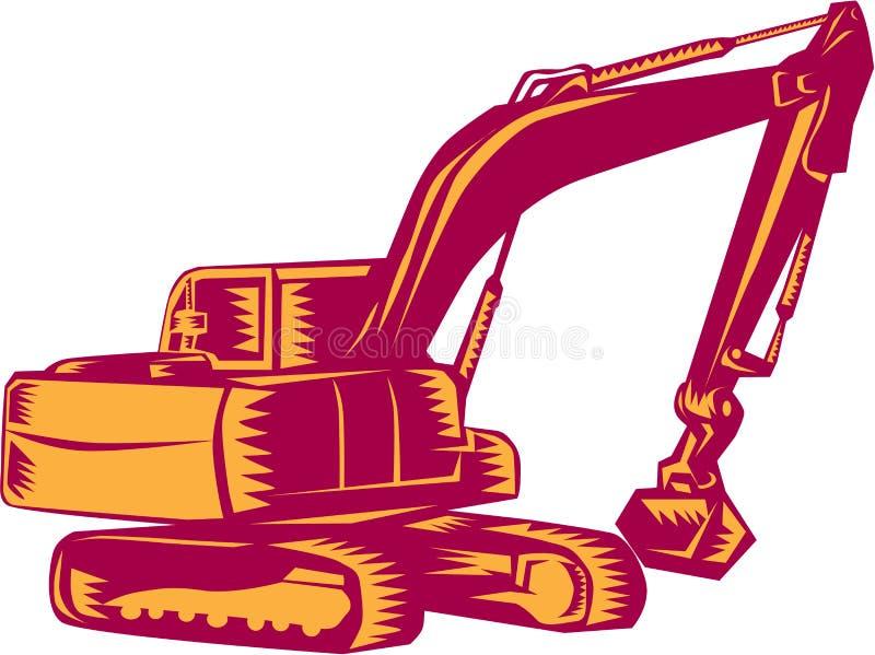 Mekaniska Digger Excavator Woodcut vektor illustrationer