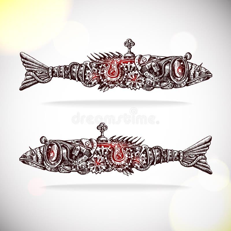 Mekaniska fishs stock illustrationer
