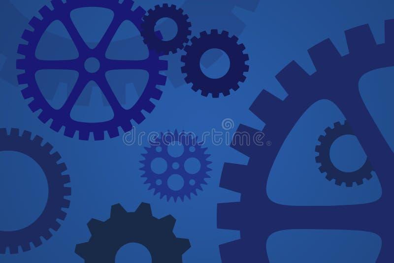Mekaniska kugghjul i blått för bransch- och processbegrepp vektor illustrationer