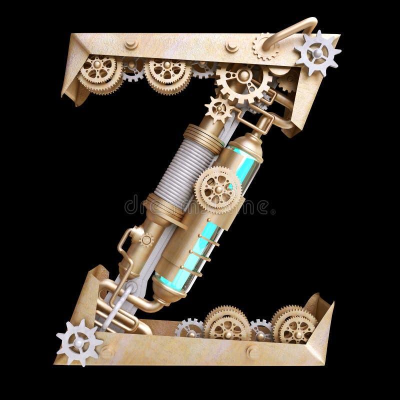 Mekaniskt alfabet som göras från järn stock illustrationer